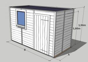 croquis Abri de jardin en bois toit plat sans débord 5m2 à 20m2
