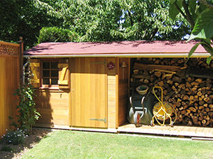 Abri de jardin en bois, Chalet de jardin, Atelier modulable, aménageable, abri avec bucher bois