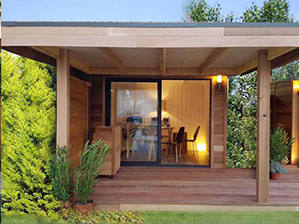 Studio de jardin bois avec auvent, Bureau de jardin avec terrasse couverte, extension bois annexe jardin