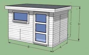 abri de jardin en bois avec débord toit plat -5m2 à 20m2