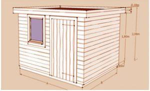 Le Castelet : chalet de jardin à toit plat en bois Red Cedar ou sapin