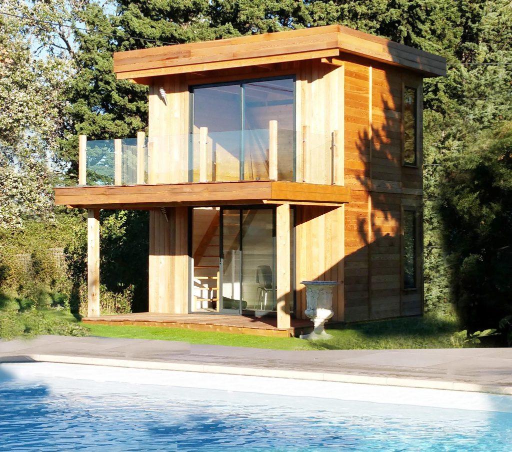 Pool house en bois, local technique - Ambiances Bois