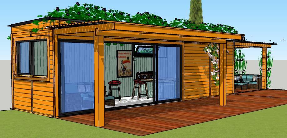 studio de jardin en bois moderne toit plat sans d bord. Black Bedroom Furniture Sets. Home Design Ideas